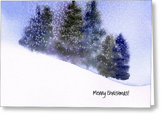Greeting Card featuring the painting Snowfall by Anne Duke