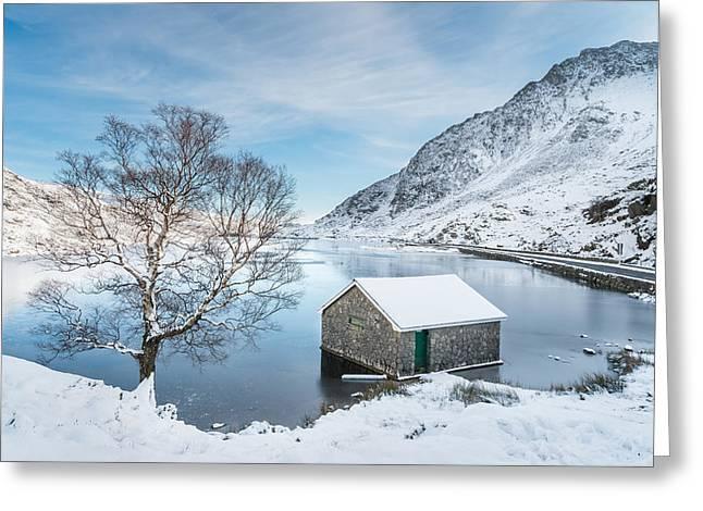 Snowfall At Llyn Ogwen Greeting Card by Christine Smart