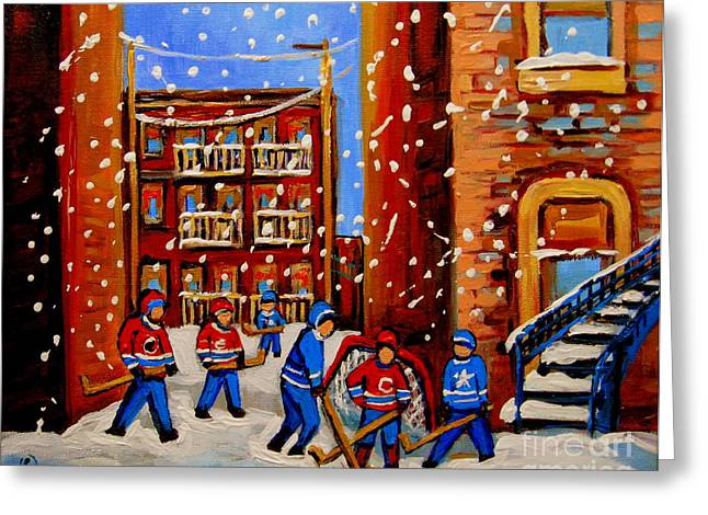 Snowfall Hockey Game Winter City Scene Greeting Card by Carole Spandau
