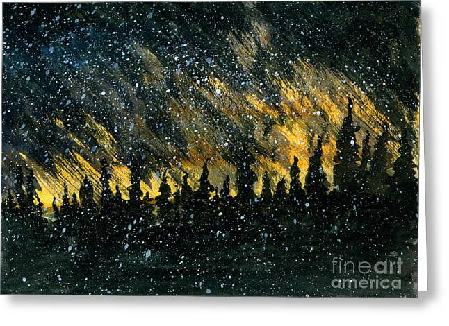 Snowfall On The Forest Greeting Card by R Kyllo