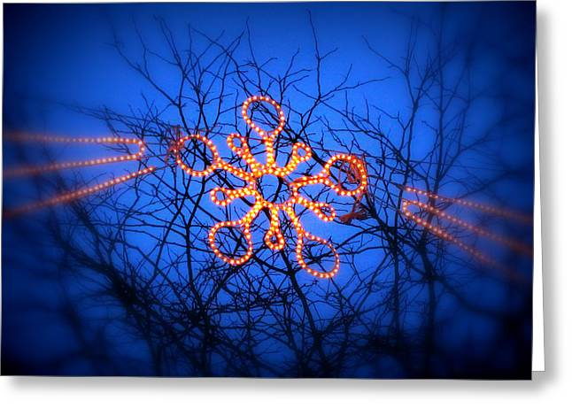 Greeting Card featuring the photograph Snowflake Christmas Lights by Aurelio Zucco