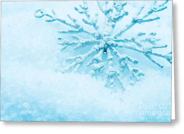 Snowflake In Snow Greeting Card by Michal Bednarek
