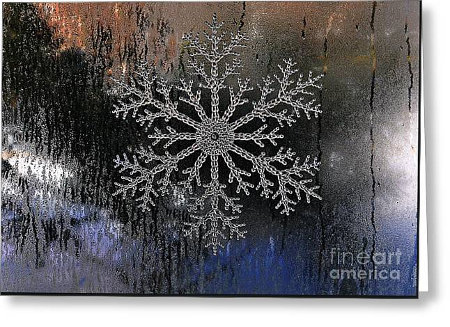 Snowflake On A Night Window Greeting Card by Elaine Manley