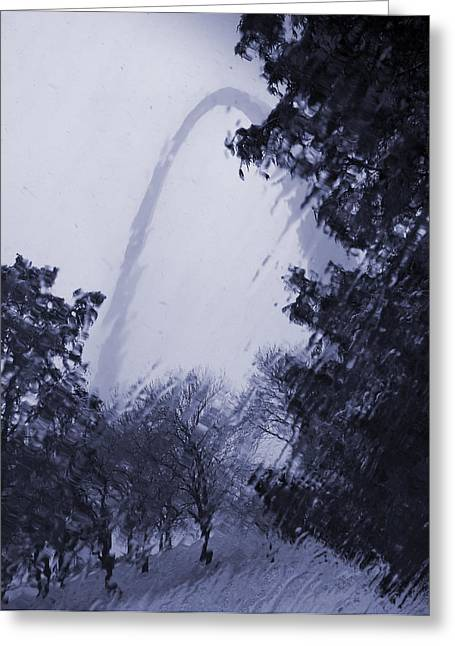 Snowing At The Arch Greeting Card