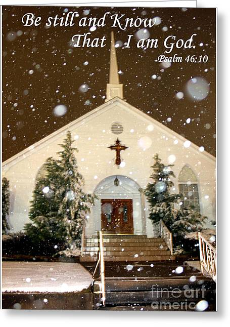 Snowing At The Chapel Greeting Card by Kathy  White