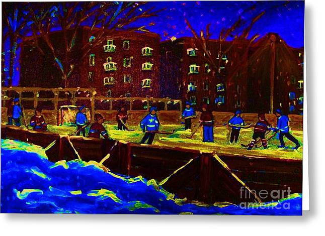 Snowing At The Rink Greeting Card by Carole Spandau
