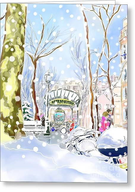 Snowing In Montmartre Greeting Card