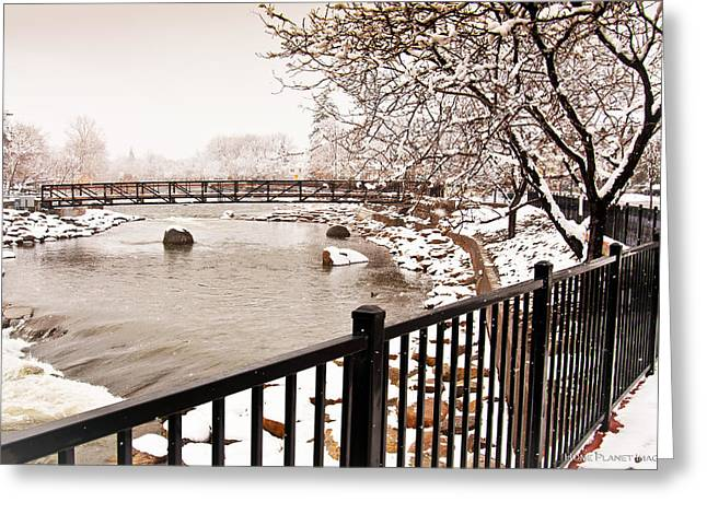 Greeting Card featuring the photograph Snowing On The Truckee by Janis Knight