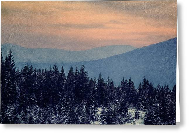Snowing Sunset Greeting Card by Melanie Lankford Photography