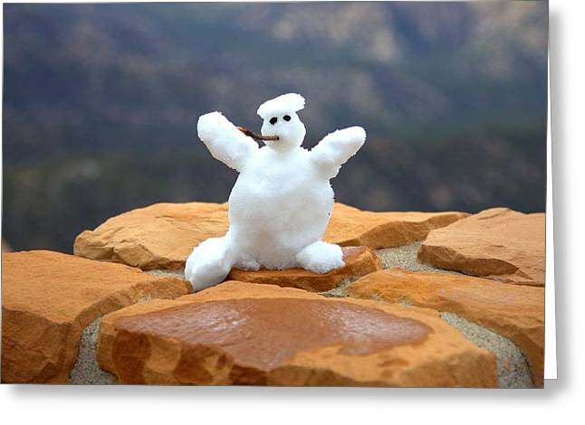 Snowman At Bryce - Square Greeting Card by Gordon Elwell