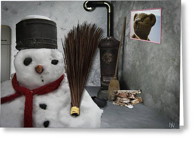 Snowman At Home Greeting Card by Nafets Nuarb