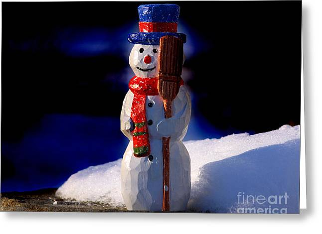 Snowman By George Wood Greeting Card