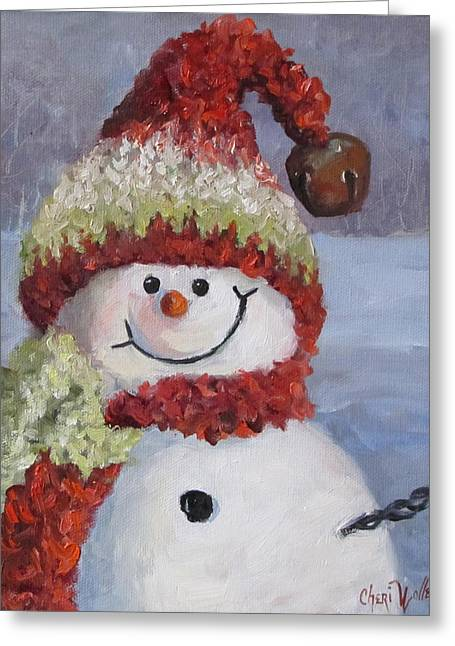 Snowman II - Christmas Series Greeting Card by Cheri Wollenberg