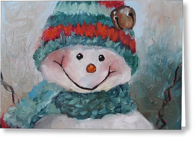 Snowman IIi - Christmas Series Greeting Card by Cheri Wollenberg