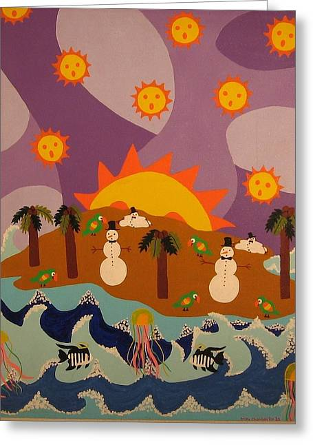 Greeting Card featuring the painting Snowman Is An Island by Erika Chamberlin
