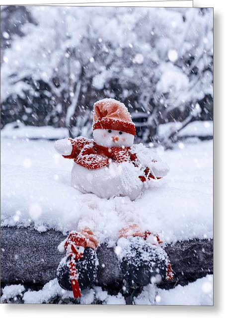 Snowman Greeting Card by Joana Kruse