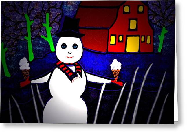 Snowman Greeting Card by Latha Gokuldas Panicker