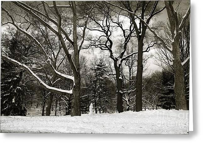 Snowman Greeting Card by Madeline Ellis