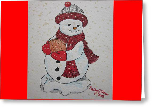Snowman Playing Basketball Greeting Card by Kathy Marrs Chandler