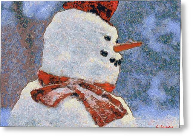 Snowman Portrait Greeting Card by George Rossidis