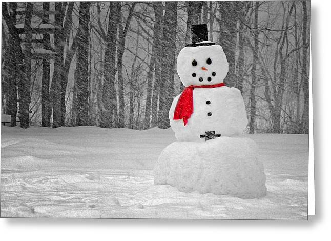 Snowman Greeting Card by Steven Michael