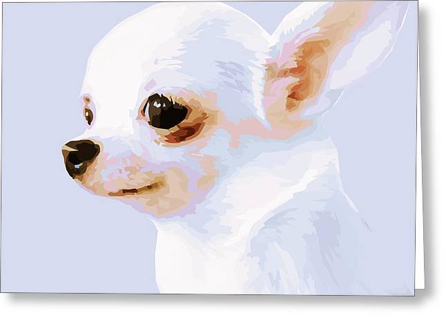 Snowman - White Chihuahua Greeting Card by Rebecca Korpita