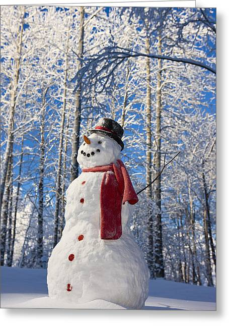 Snowman With Red Scarf And Black Top Greeting Card by Kevin Smith