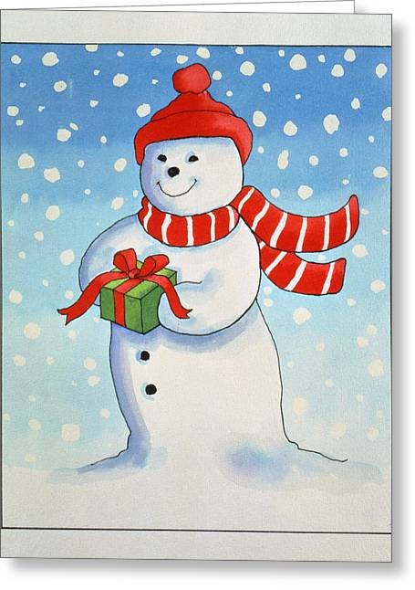 Snowmans Christmas Present Greeting Card by Lavinia Hamer