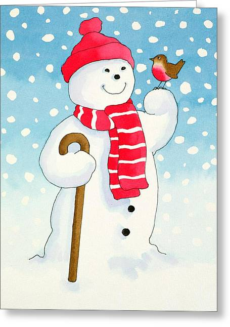Snowmans Friend Greeting Card by Lavinia Hamer