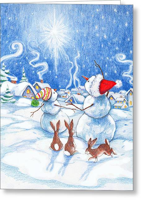 Snowmen And Christmas Star Greeting Card by Peggy Wilson