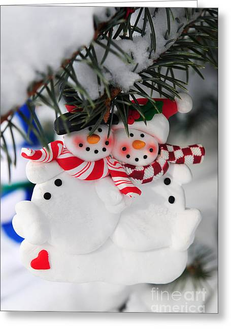 Snowmen Christmas Ornament Greeting Card by Elena Elisseeva