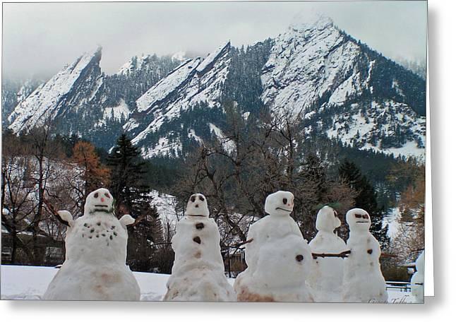 Snowmen Flatirons Greeting Card