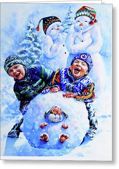 Snowmen Greeting Card by Hanne Lore Koehler