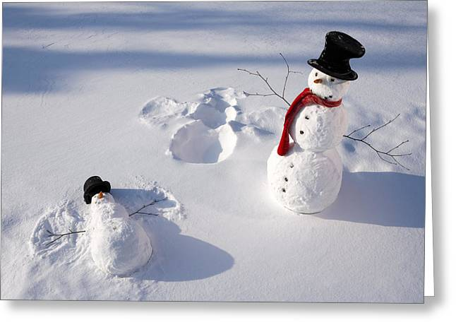 Snowmen In Forest Making Snow Angel Greeting Card