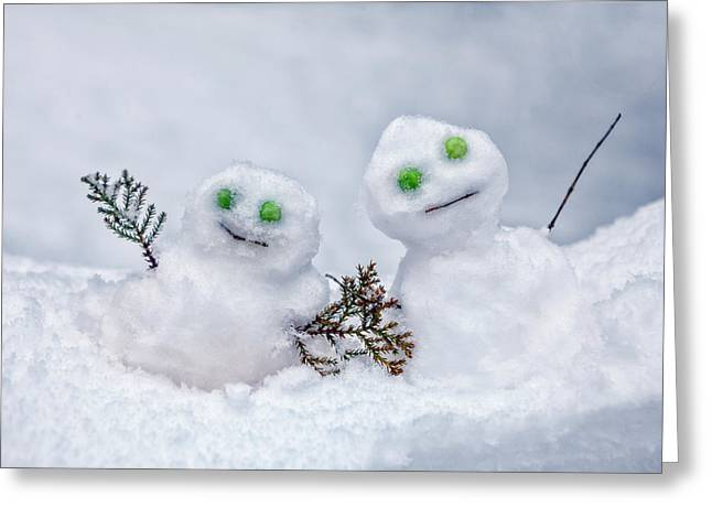 Snowmen Greeting Card by Joana Kruse