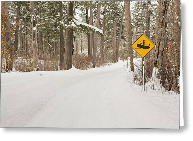 Snowmobile Crossing Greeting Card