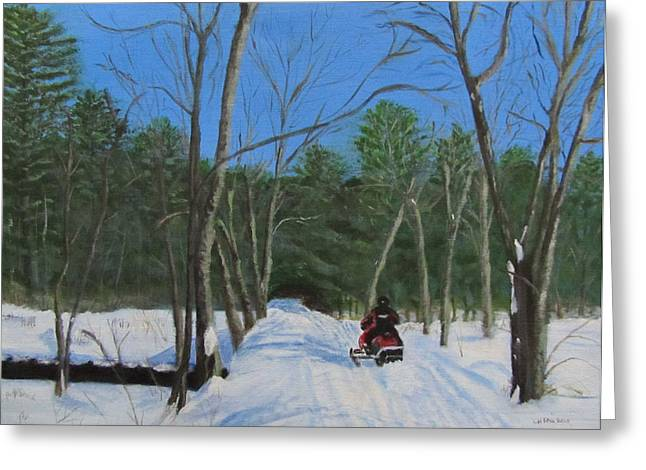 Snowmobile On Trail Greeting Card