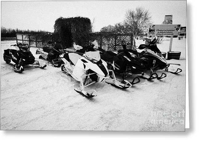 snowmobiles parked in Kamsack Saskatchewan Canada Greeting Card