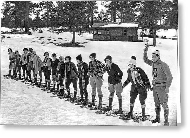 Snowshoe Race In The Mountains Greeting Card
