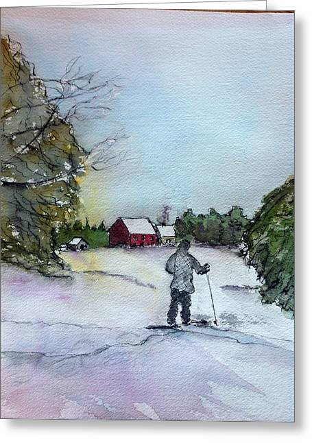 Snowshoeing In Northern Maine Greeting Card by Peggy Bosse
