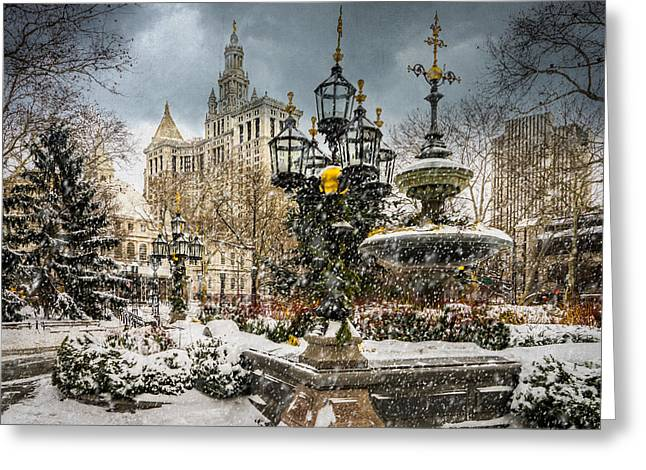 Snowstorm At City Hall Greeting Card by Chris Lord
