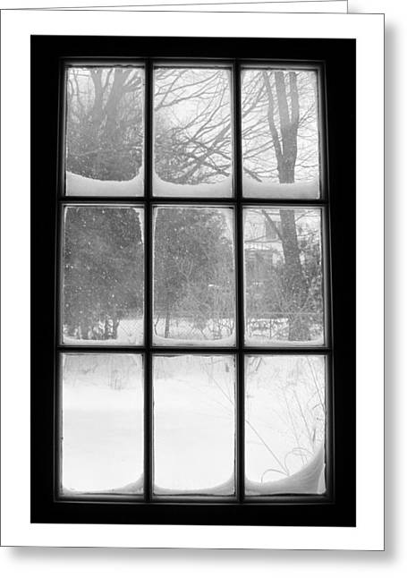 Snowstorm Outside The Windowpanes Greeting Card