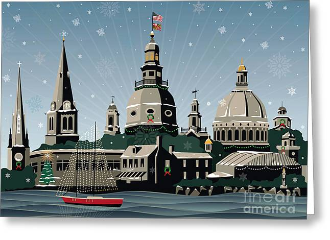 Snowy Annapolis Holiday Greeting Card