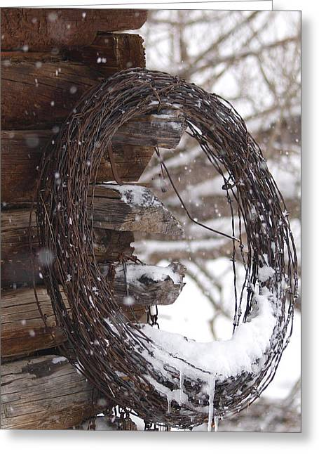 Snowy Barbed Wire Greeting Card by Jenessa Rahn