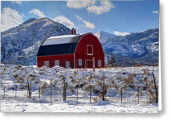 Snowy Barn In The Mountains - Utah Greeting Card