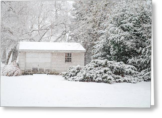 Snowy Barn Greeting Card by Mary Timman