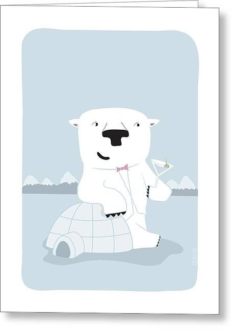 Snowy Bear The Suave Polar Bear Greeting Card by Jim O'Neill
