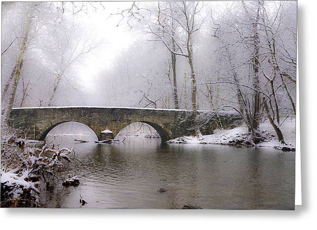 Snowy Bells Mill Road Bridge Greeting Card by Bill Cannon