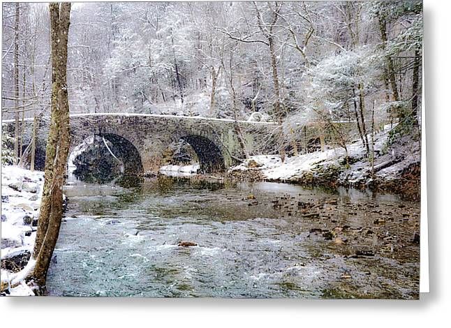 Snowy Bridge Along The Wissahickon Greeting Card by Bill Cannon