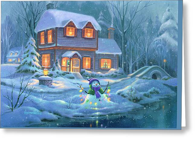 Snowy Bright Night Greeting Card by Michael Humphries